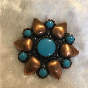 ☘️VTG Trading Post Copper Turquoise Brooch☘️